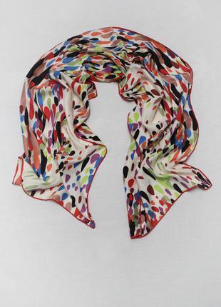 Яркий длинный винтажный шелковый шарф