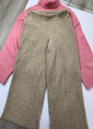 Трикотажные штаны палаццо h&m высокая посадка