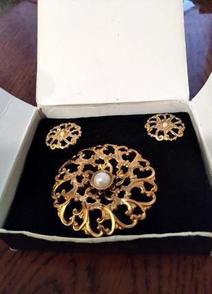 Винтажный подарочный комплект украшений от avon сша flower blossom
