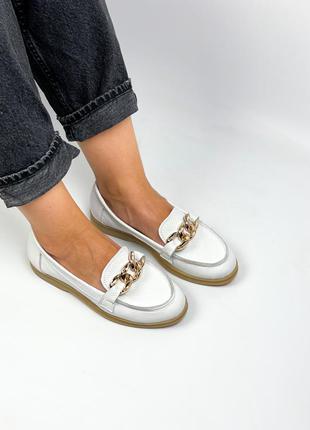 Лоферы натуральная кожа белые туфли балетки