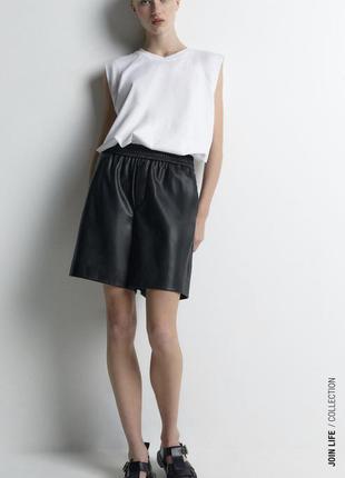 Чёрные кожаные шорты бермуды zara шорты из эко кожи зара