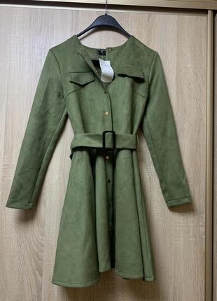 Новое замшевое платье с поясом