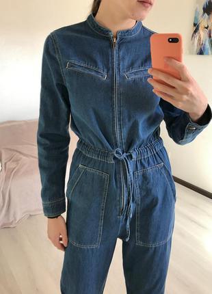 Синий джинсовый сдельный брючный комбинезон m&s collection