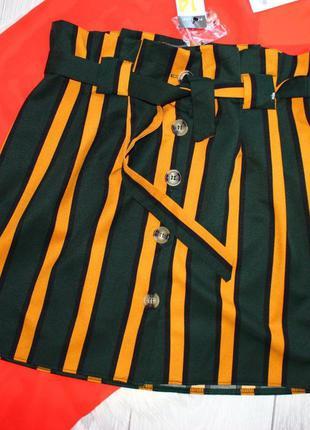 Стильная полосатая тыквенно оранжево-болотная юбка на пуговицах под поясок высокая посадка м-л.