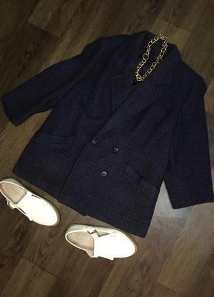Demood синий буклированый жакет пиджак полупальто