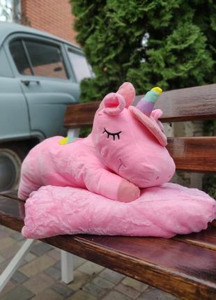 Плед игрушка трансформер единорог розовый