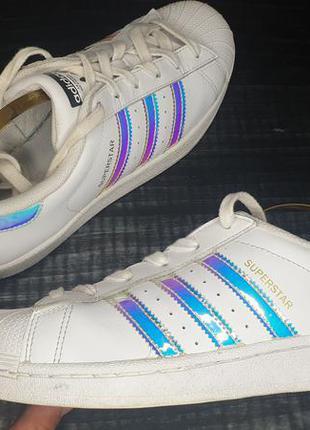 Кроссовки adidas superstar c голограмными полосками