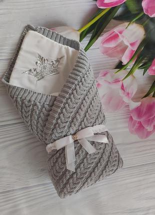Конверт для новорожденных вязаный 3 в 1 одеяло плед бант-резинка