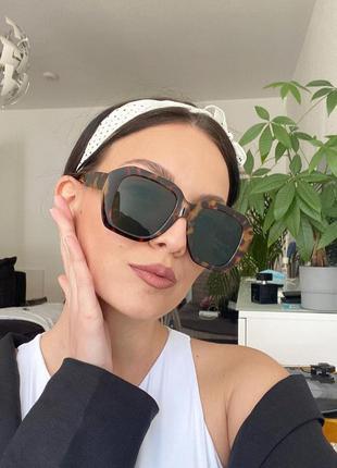 Тренд новые солнцезащитные очки большие леопард зеленые линзы ретро окуляри сонцезахисні великі нові