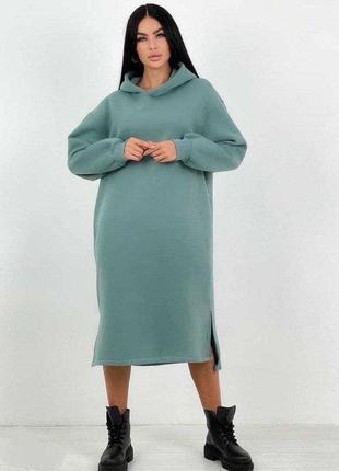 Тёплое платье-худи на флисе