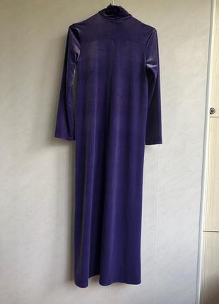 Cos лонгслив платье в пол фиолетовое велюр бархат