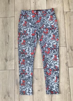 Брюки штаны лосины в цветы фирменные