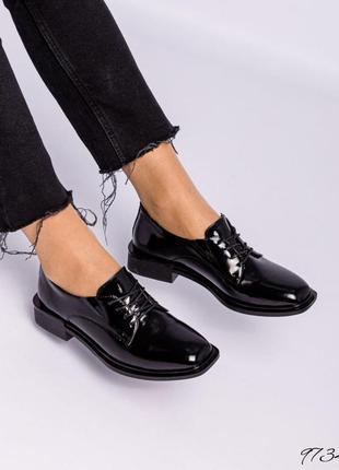 ❤ женские черные лаковые кожаные туфли лоферы ❤