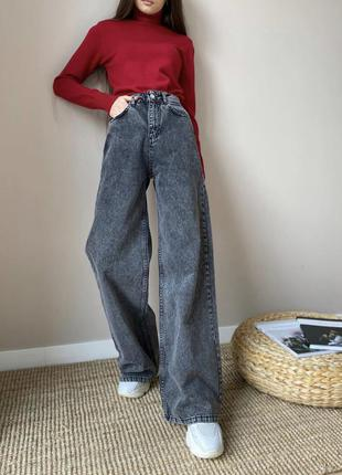Джинсы палаццо, клёш, трубы, серая варка, серые джинсы, джинси