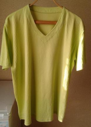 Яркая салатно-лимонная футболка, германия,батал.