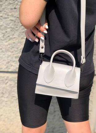 Белая  сумка , сумка с длинным ремешком , сумка кроссбоди