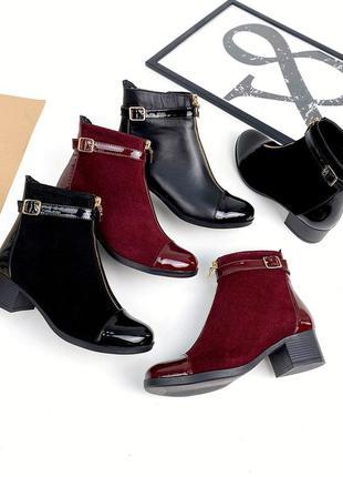 Рр 36-41.чëрные зимние   демисезонные ботинки из натуральной замши