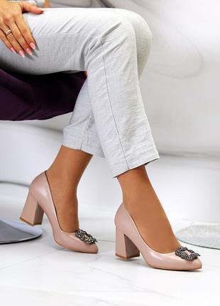 Мокко/бежевые классические туфли-лодочки острый носок на широком каблуке 36-40