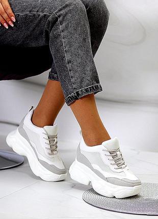 Белые массивные кроссовки/сникерсы на платформе/танкетке 35-40