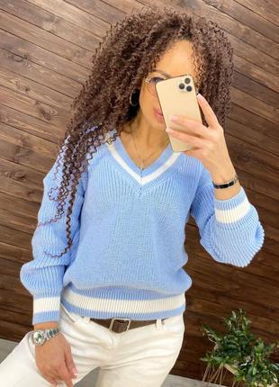Свитер v-вырез 6 цветов, стильный свитер, свитер полоска, теплый свитер (арт 17014)