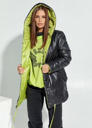 Черно-салатовая двусторонняя куртка с капюшоном