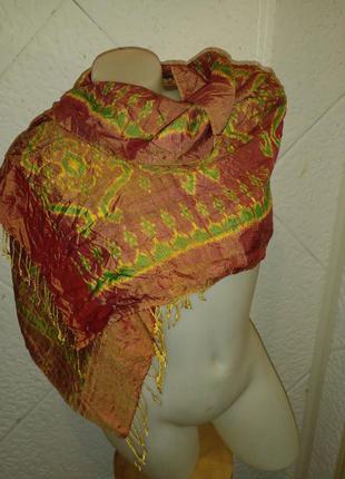 Красивый палантин шарф тайский шелк