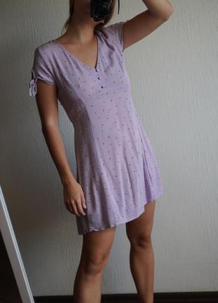 Платье сарафан лиловое в мелкий цветочек