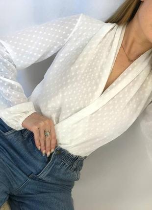 Боди /бодик в горох / тренд  /комбидресс /женский/ блуза /рубашка на запах