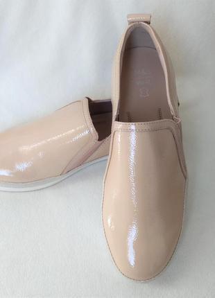 Кожаные новые слипоны мокасины лоферы  на полную  в подьеме ногу от m&s