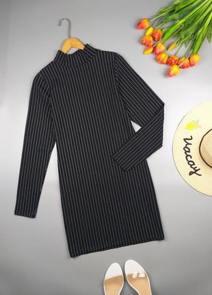 Платье черное в полоску стрейчевое от plf