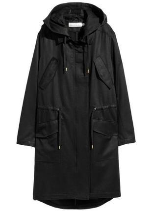 Черная парка куртка плащ h&m хлопок oversize
