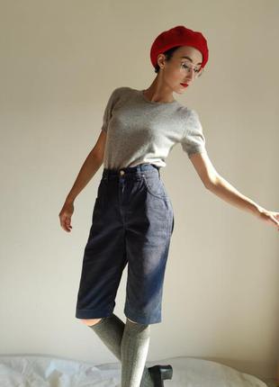 Бермуды шорты винтаж джинсовые деним высокая посадка талия laura biagiotti
