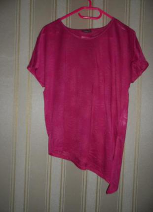 Женская футболка асимметричная  бордовая размер 44 // xxl