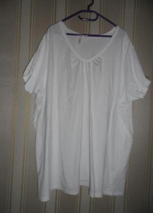 Женская белая футболка размер 58-60 // 9xl-10xl  хлопок /большой размер