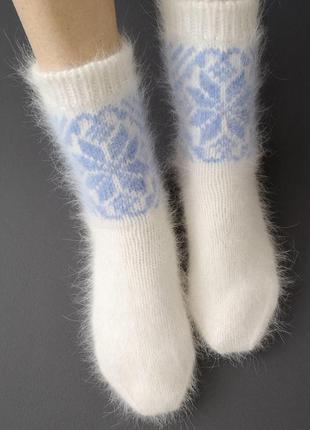 Вязаные пушистые женские носки ангора кролик hand made ручная работа