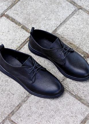 Классические черные кожаные женские туфли из натуральной кожи флотар