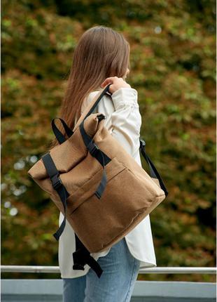 Якісний та стильний жіночий рюкзак роллтоп ⭐матова екошкіра⭐ коричневий