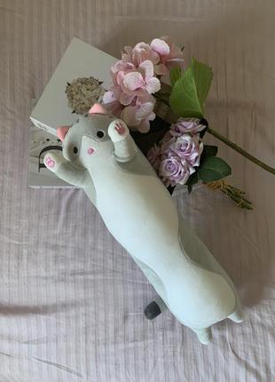 Подушка-обнимашка длинный плюшевый серый кот, новая!