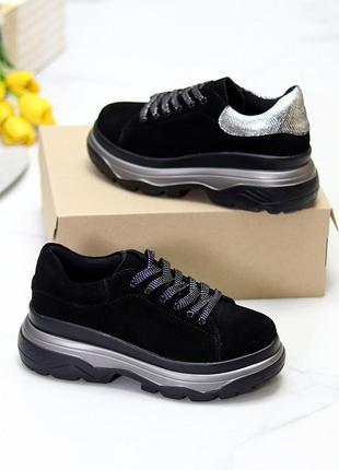 Черные серебристые женские кроссовки сникерсы натуральная замша на платформе   к 7046