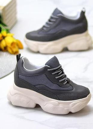Ультра модные замшевые женские кроссовки сникерсы на платформе   к 11602