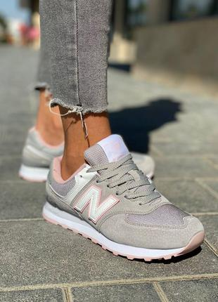 Женские кроссовки new balance 574 grey white