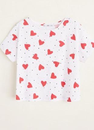 Белая футболка mango / s / красный принт