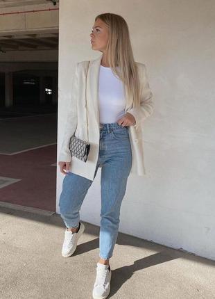 Идеальные джинсы коттон серо синие плотные mom zara 34 38