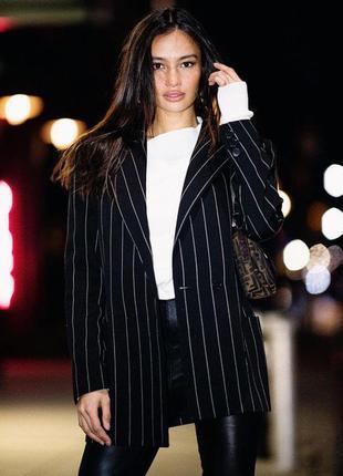 Двубортный удлиненный блейзер в полоску / кардиган /пиджак оверсайз  стиль  h&m asos zara как новый