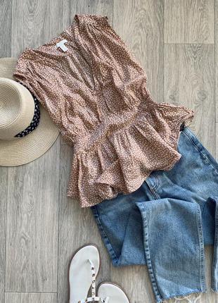 Красивая натуральная блуза топ h&m
