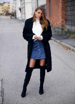 Джинсовая юбка на пуговицах короткая юбка трапеция