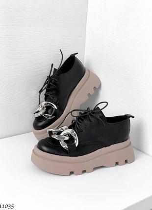 🍁женские туфли с цепью на платформе в натуральной коже
