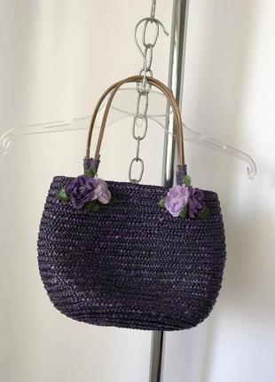 Романтик маленькая сумочка-корзинка фиолетовая с розами