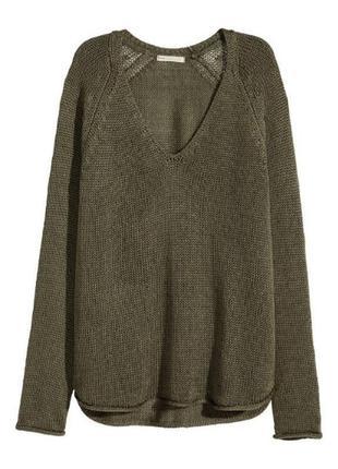 Оливковый пуловер h&m / s