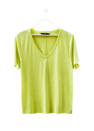 Стильная яркая натуральная футболка лимонная 100% хлопок f&f / большой размер